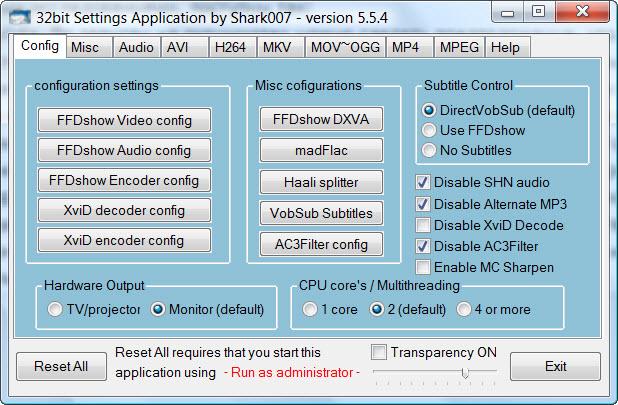 Screenshots of Vista Codec Package.